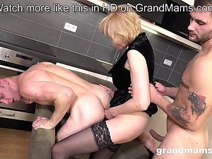 Granny Pegging young guy after sucking both studs